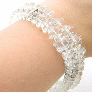 Sterling Silver .925 Clear Cut Crystal Beaded